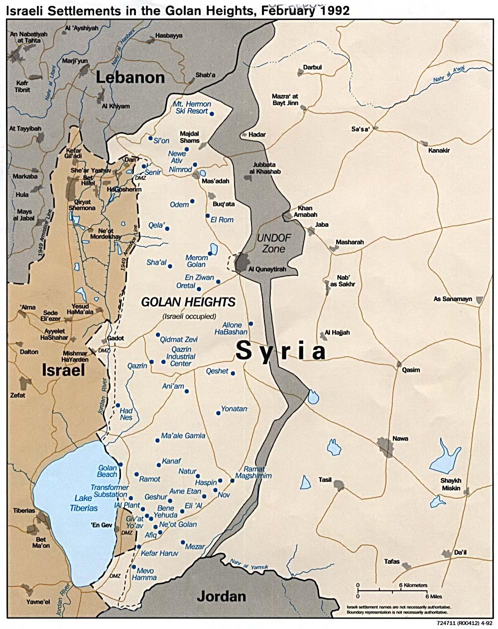 Mapa de los Asentamientos Israelíes en los Altos del Golán