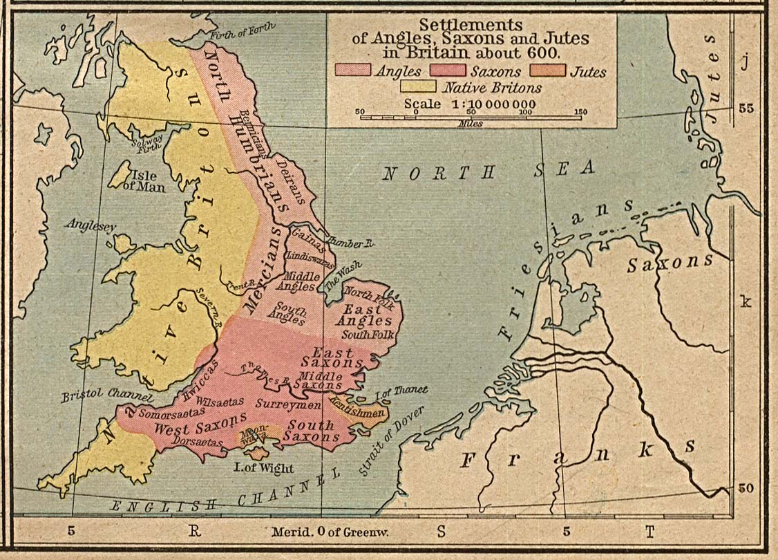 Map of the Settlements of Angles, Saxons and Jutes in Britain About 600