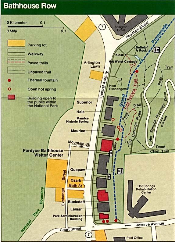 Mapa de los Baños de Aguas Termales, Parque Nacional Hot Springs, Arkansas, Estados Unidos
