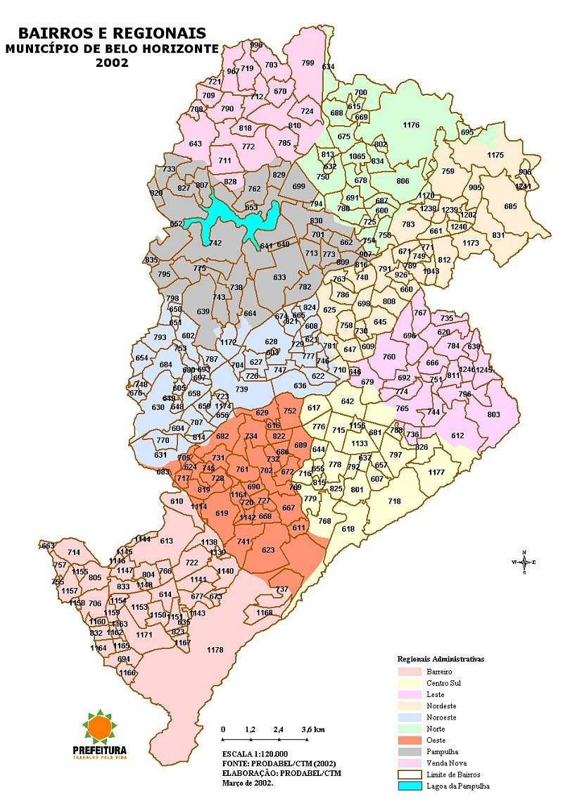 Mapa de los Barrios de Belo Horizonte por Región, Brasil