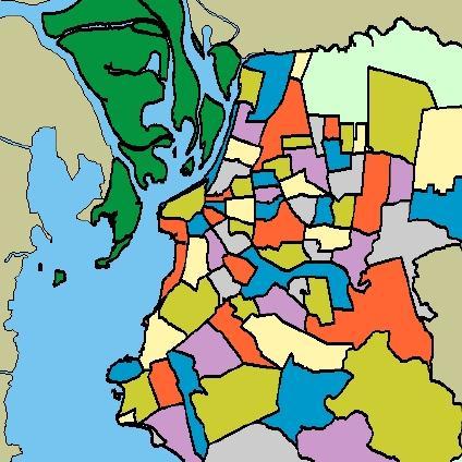 Mapa de los Barrios de Porto Alegre, Brasil