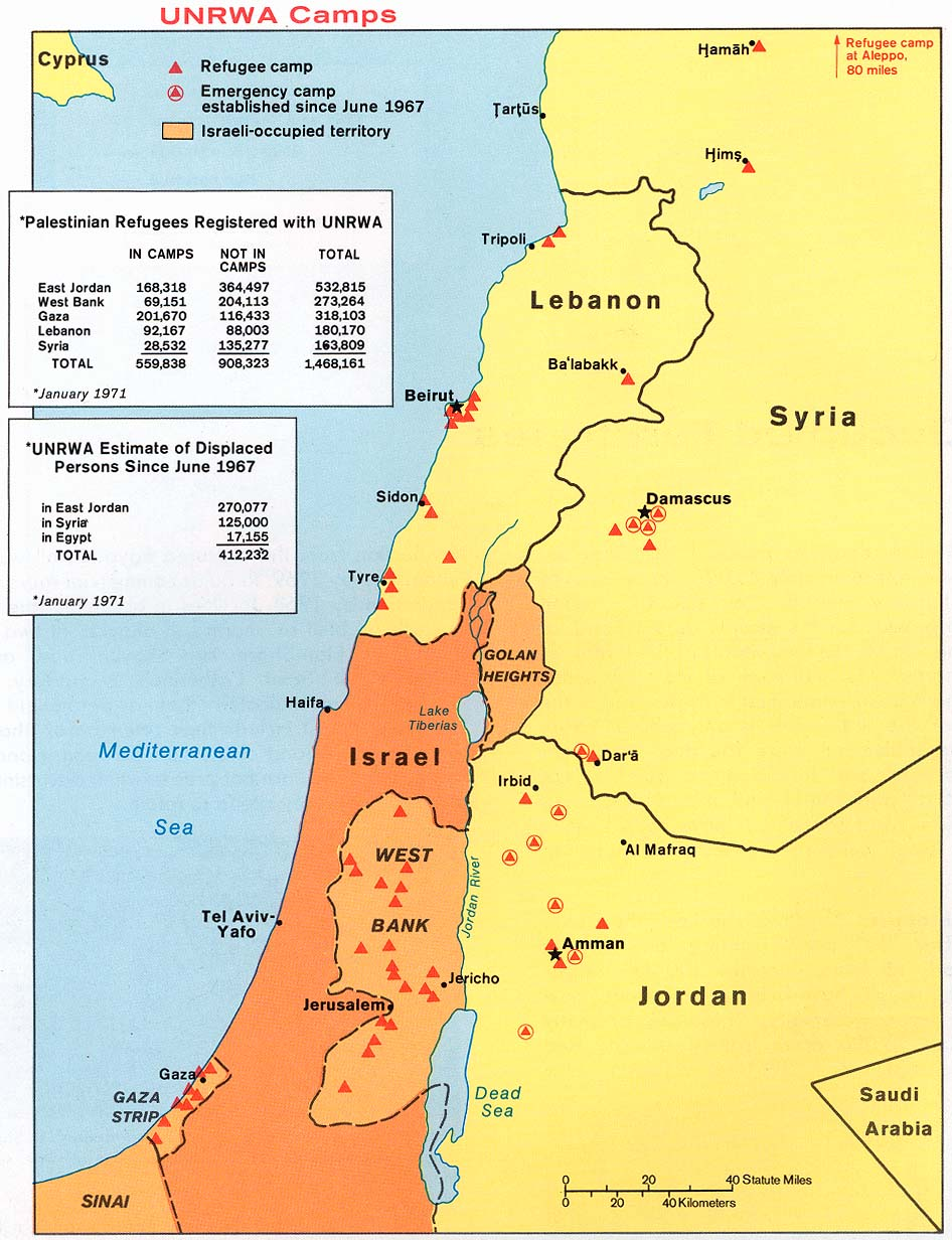 UNRWA Camps Map, Middle East 1973