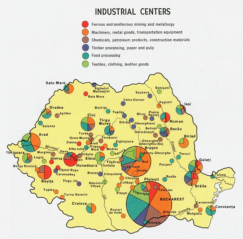 Romania Industrial Centers Map