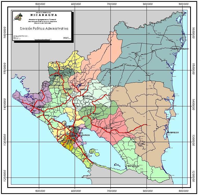 Mapa de los Departamentos de Nicaragua