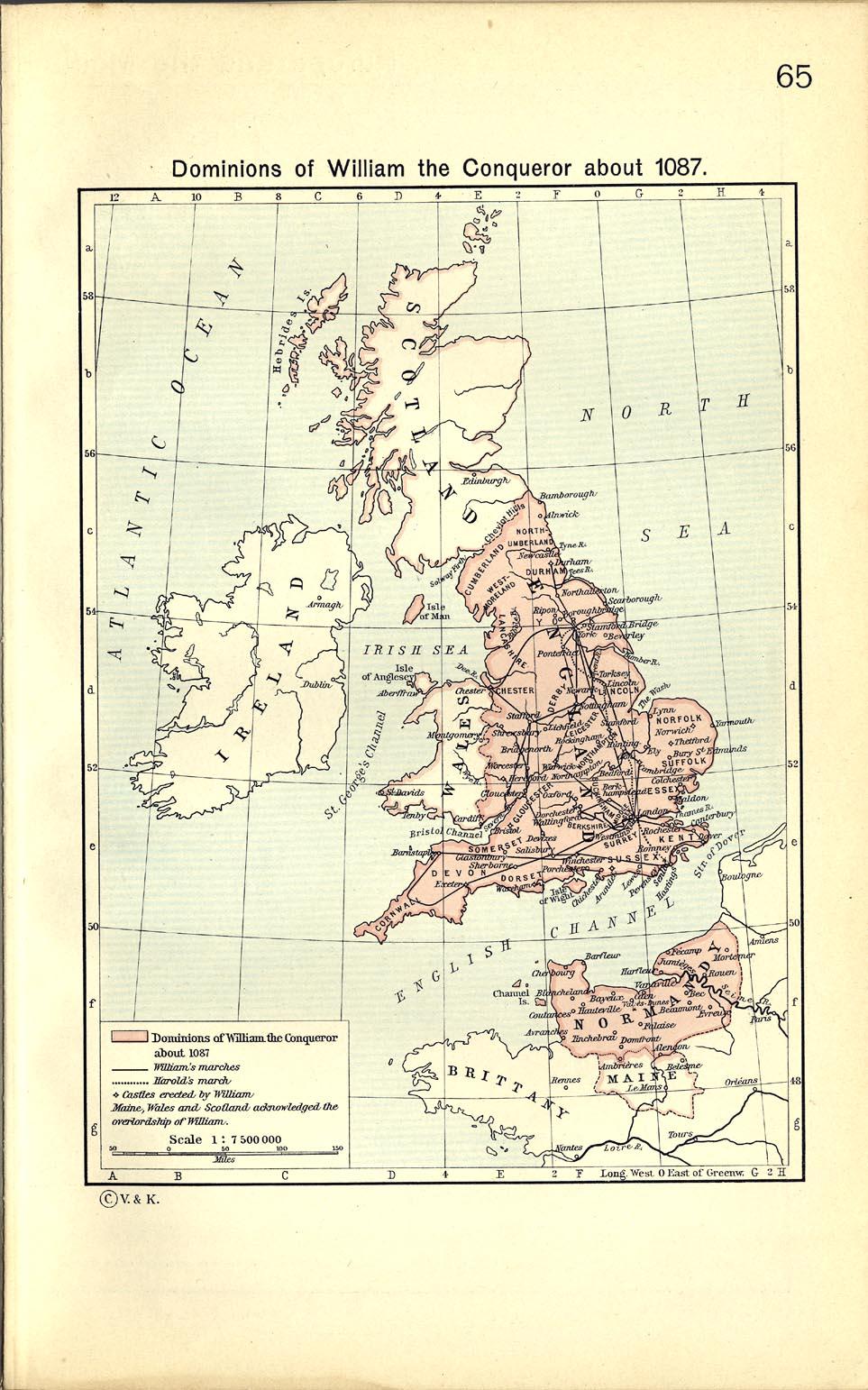 Mapa de los Dominios de Guillermo el Conquistador Circa 1087