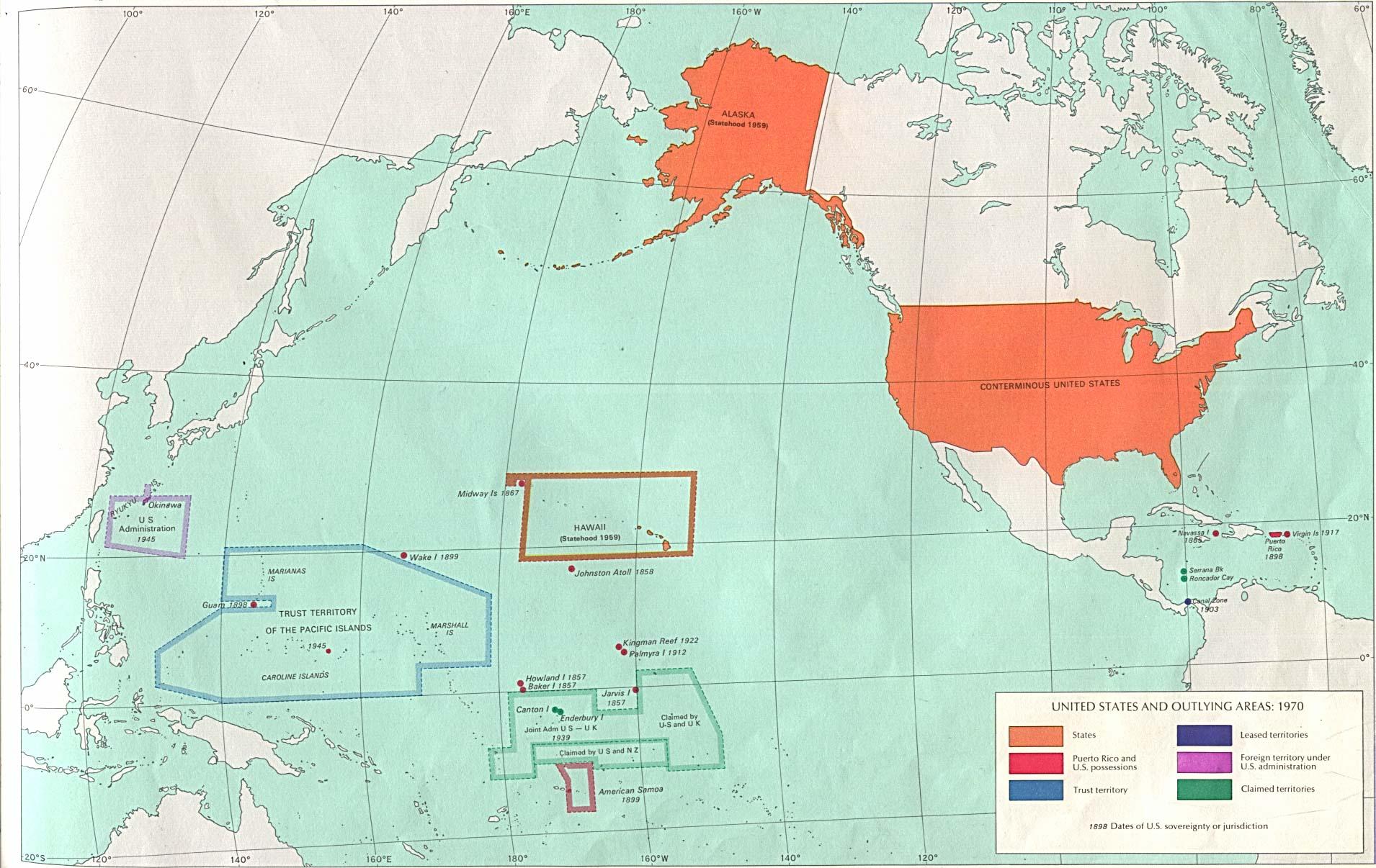 Mapa de los Estados Unidos y Áreas Periféricas