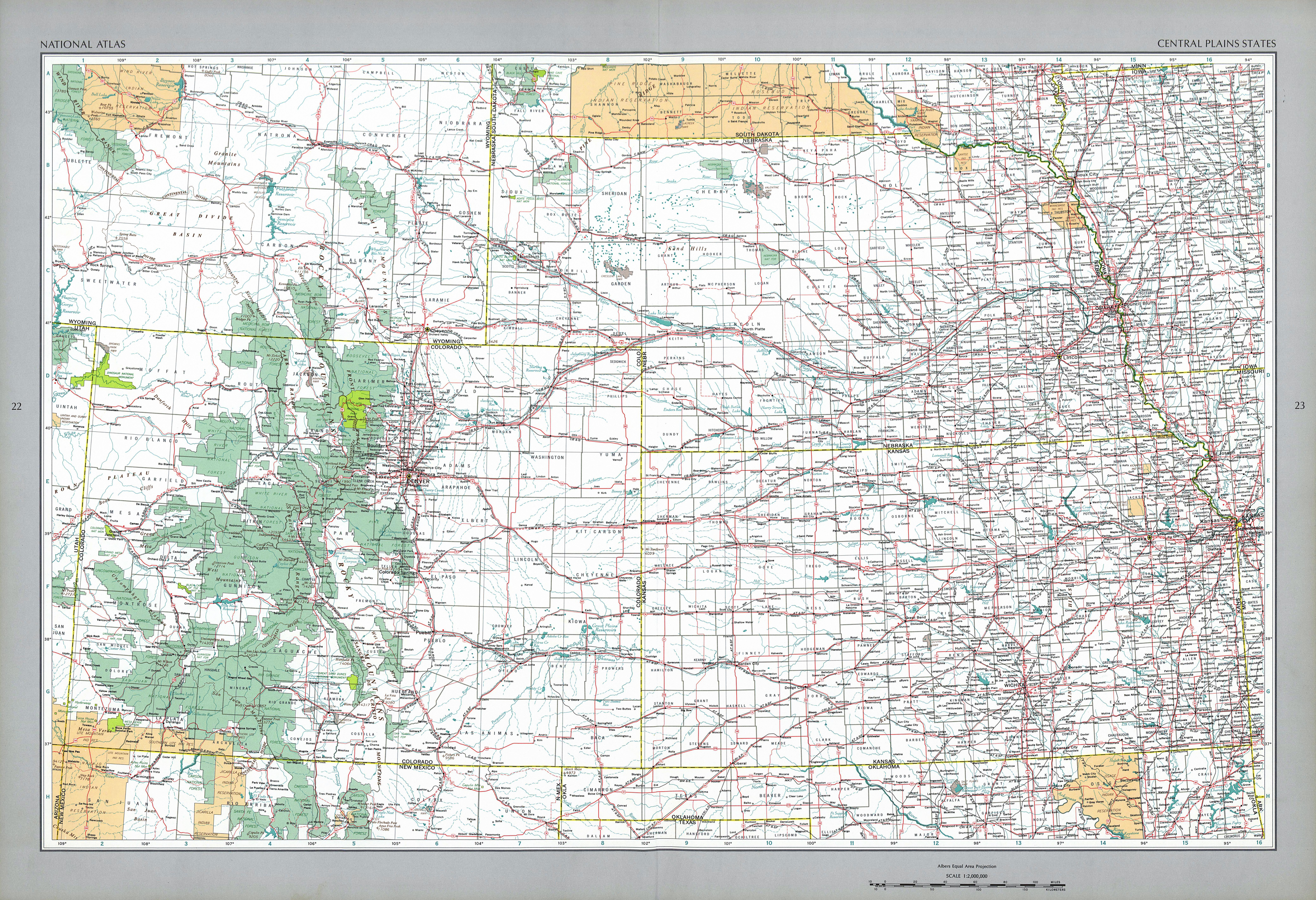 Mapa de los Estados del Centro de las Grandes Llanuras, Estados Unidos