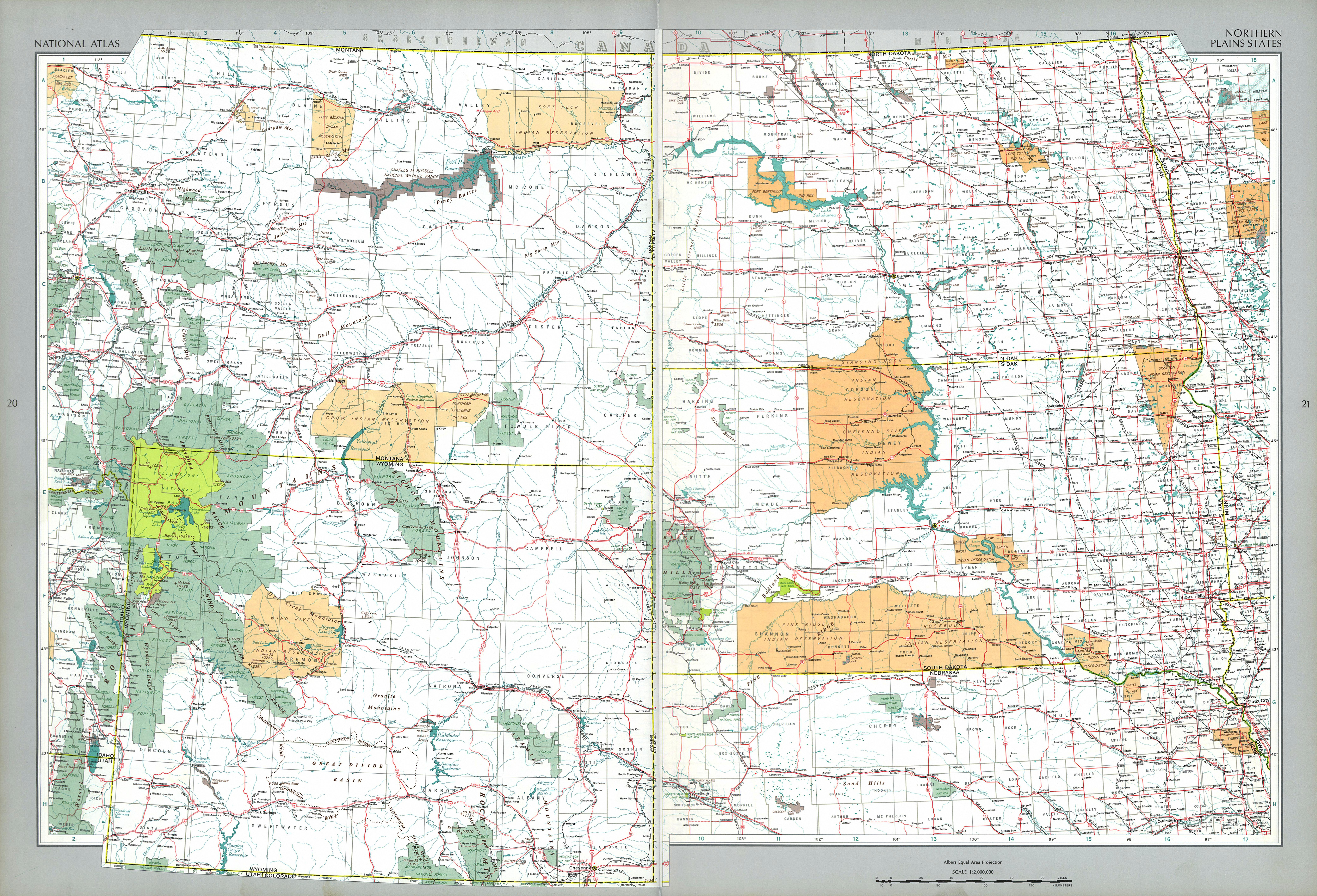 Northern Plains States Map, United States