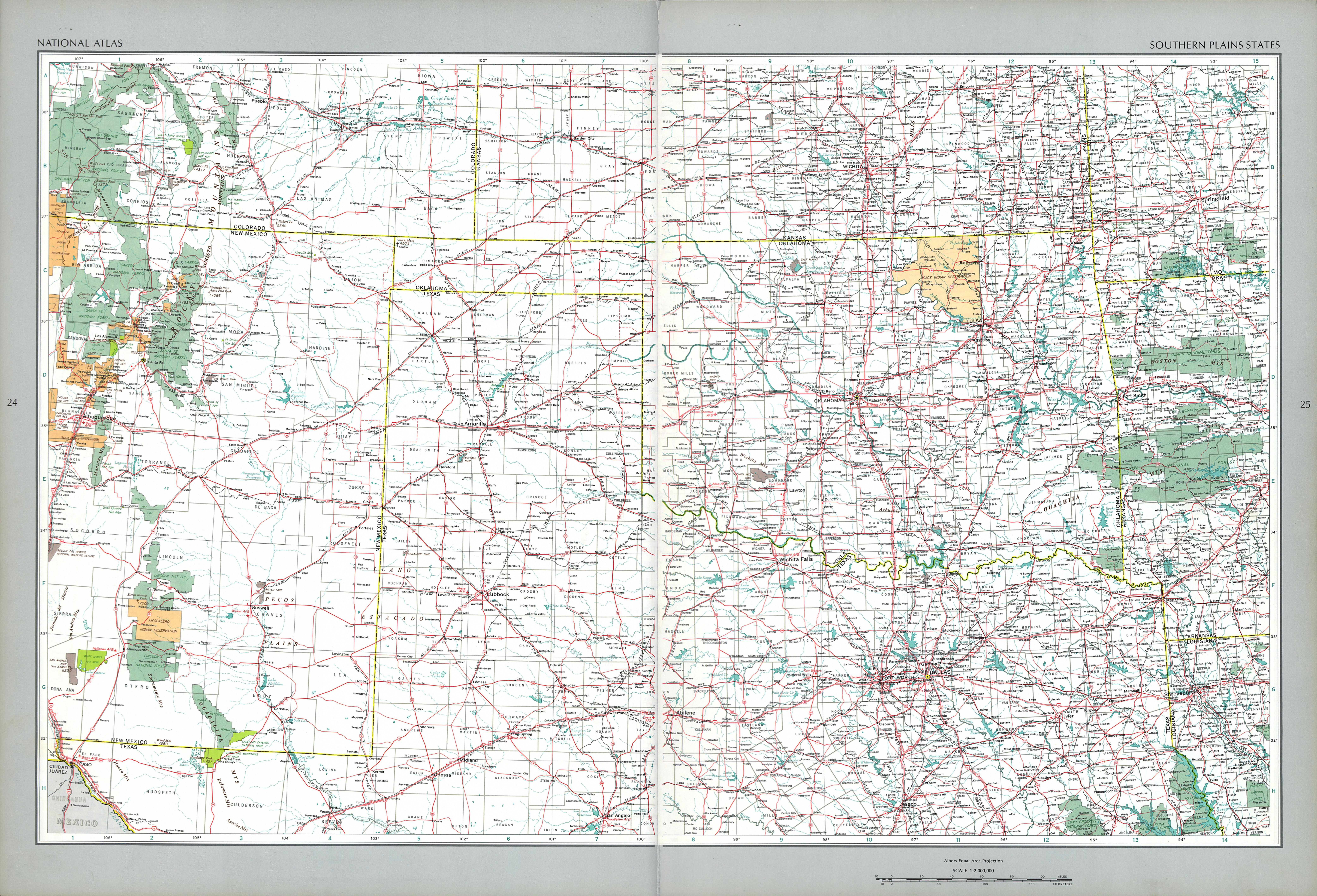 Southern Plains States Map, United States