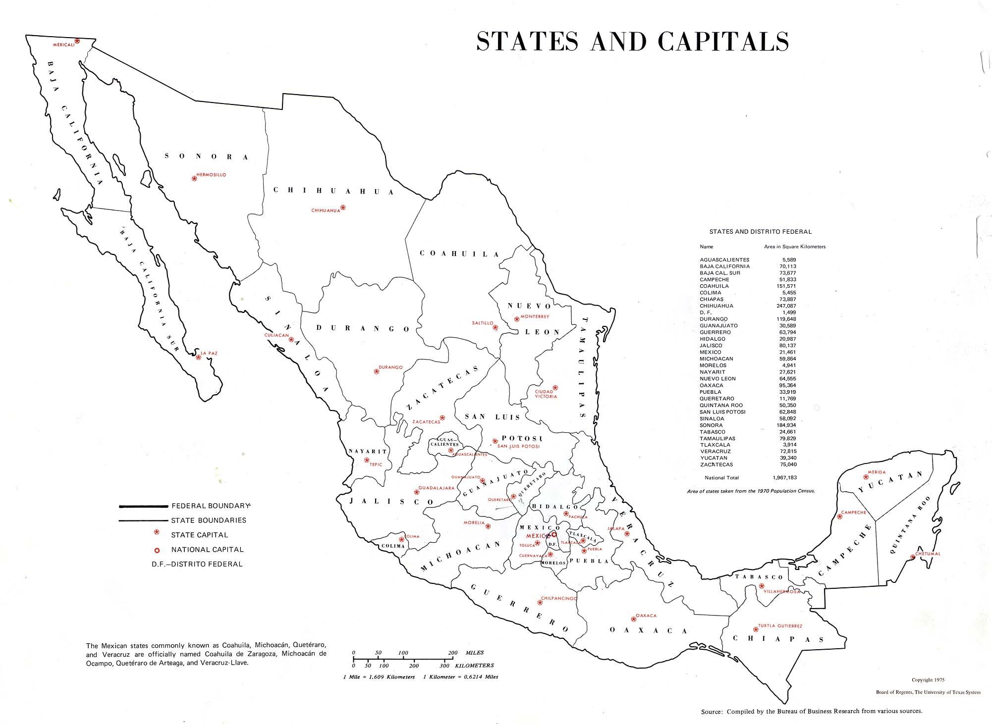 Mapa de los Estados y sus Capitales, México