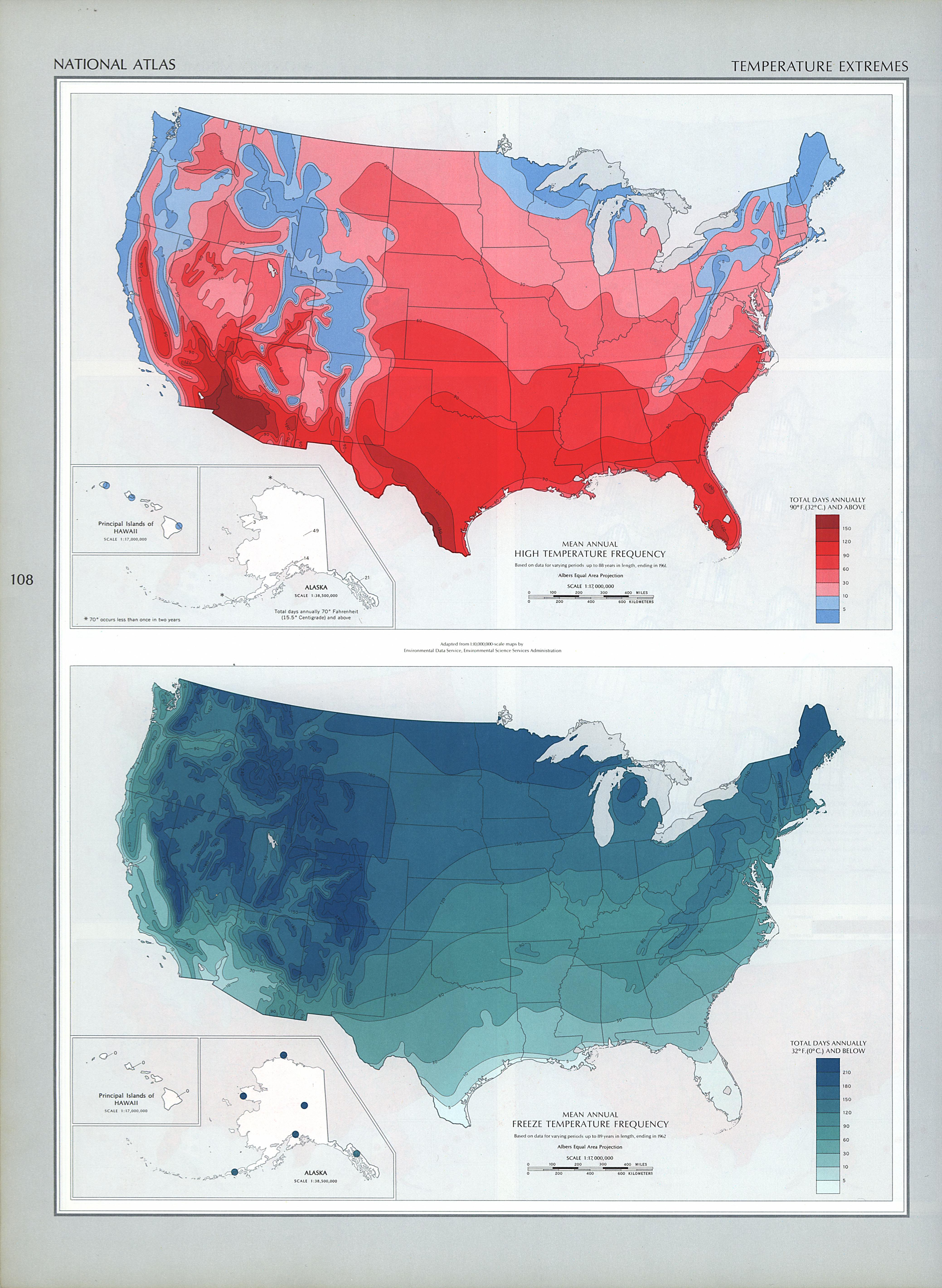 Mapa de los Extremos de Temperatura en Estados Unidos