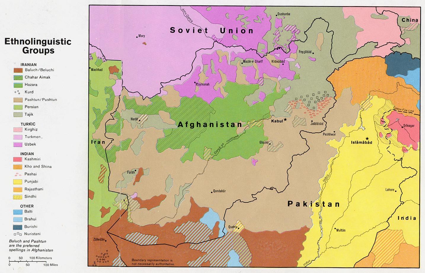 Afghanistan Ethnolinguistic Groups Map
