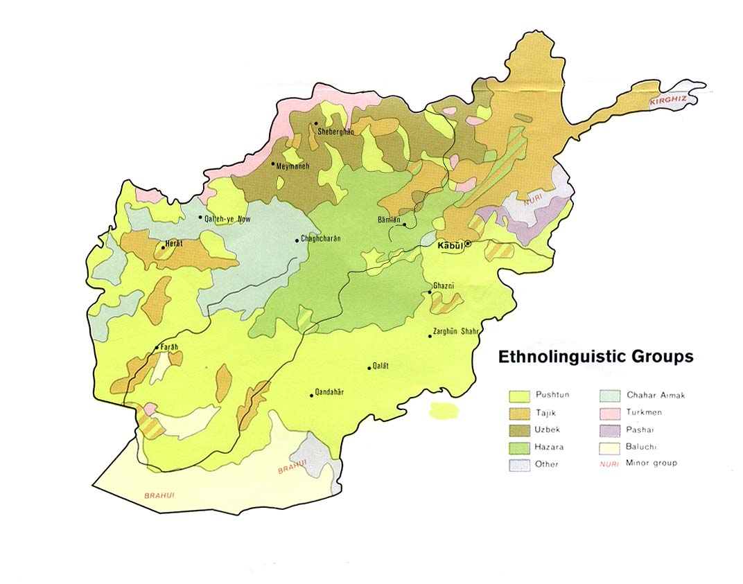 Mapa de los Grupos Etnolingüísticos Afganistán