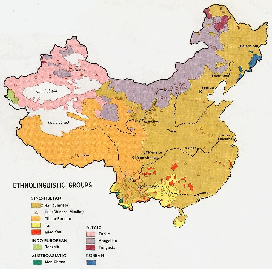 Mapa de los Grupos Etnolingüísticos de China