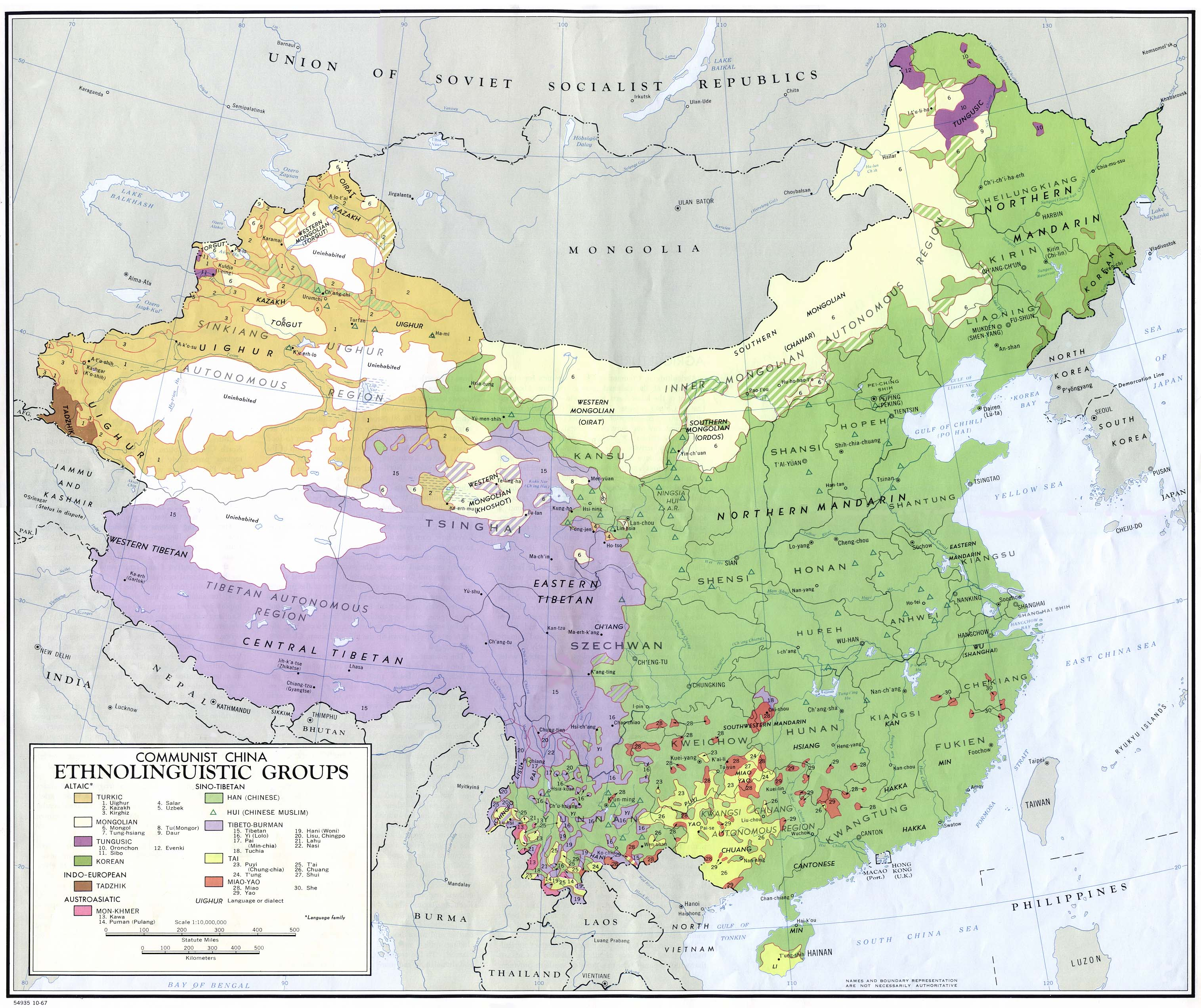 China Ethnolinguistic Groups Map