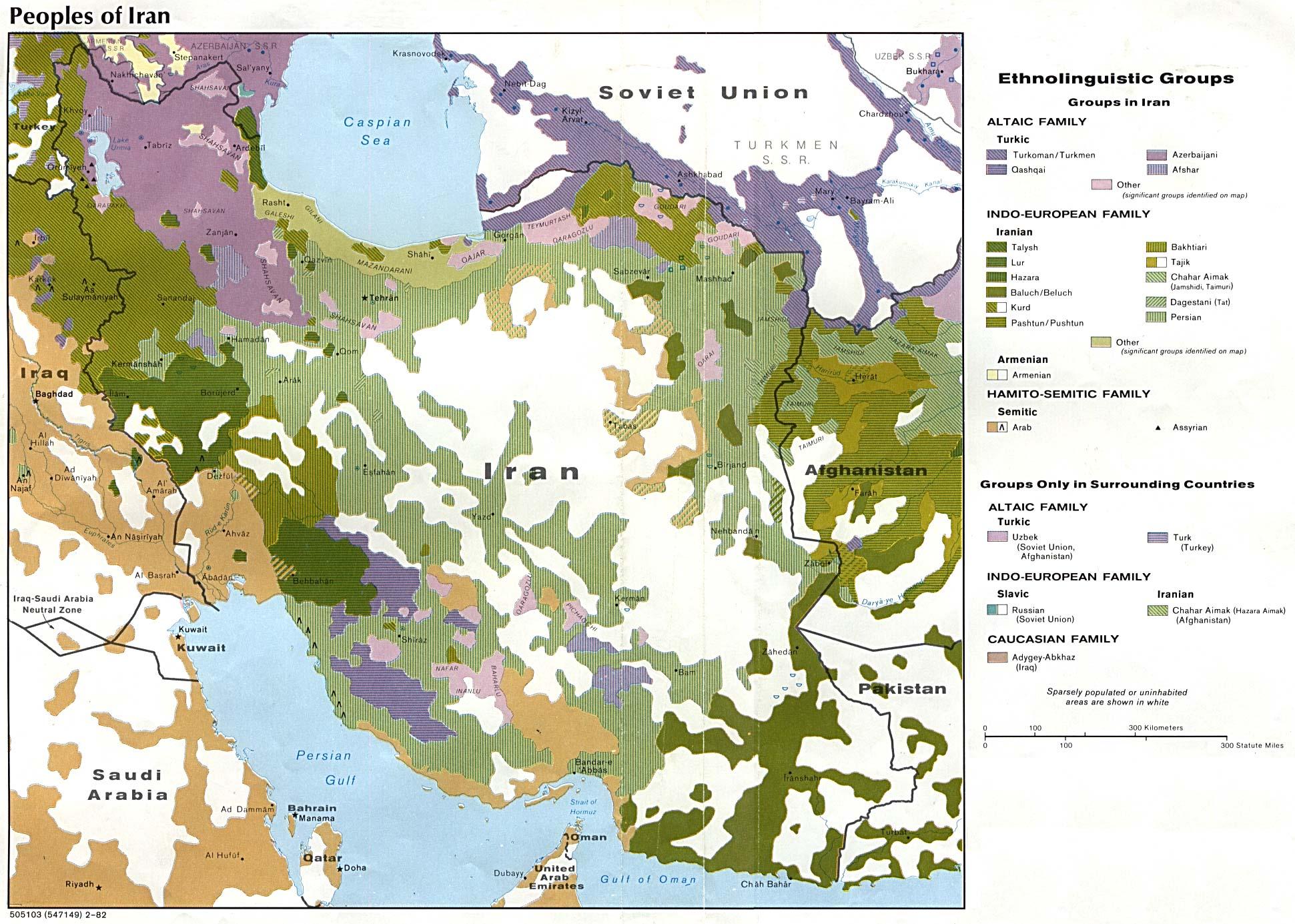 Mapa de los Grupos Etnolingüísticos de Irán