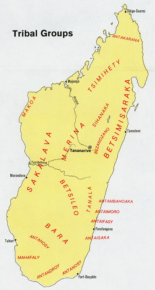 Mapa de los Grupos Tribales de Madagascar