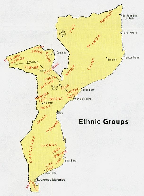 Mapa de los Grupos Étnicos de Mozambique