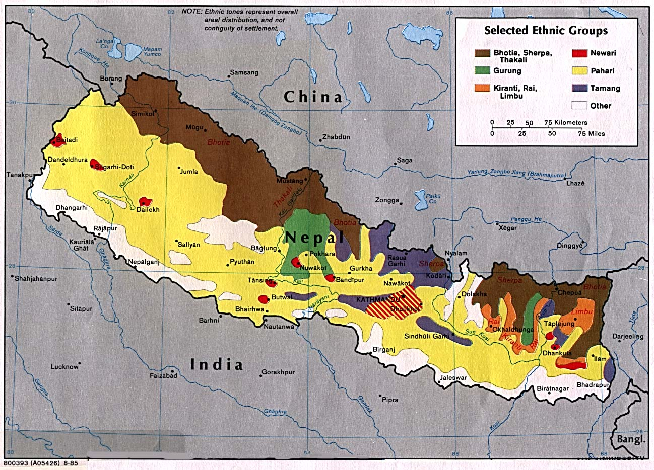 Nepal Ethnic Groups Map