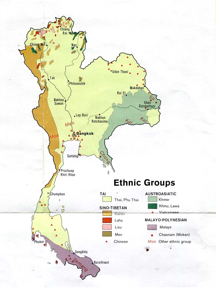 Thailand Ethnic Groups Population Map