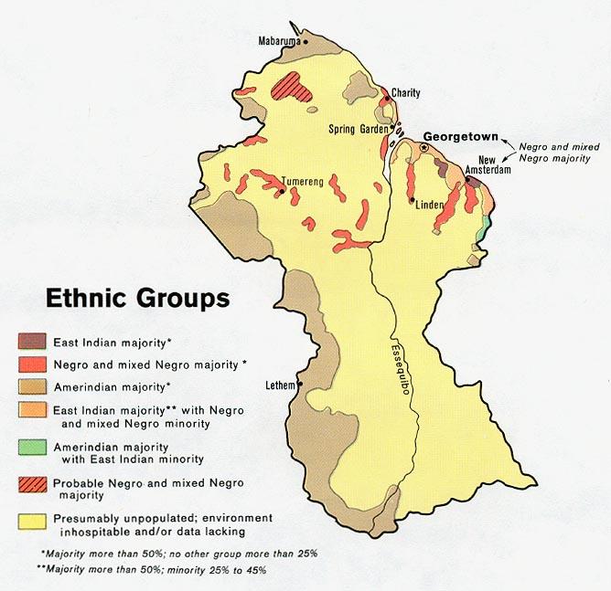 Mapa de los Grupos Étnicos de la Guyana