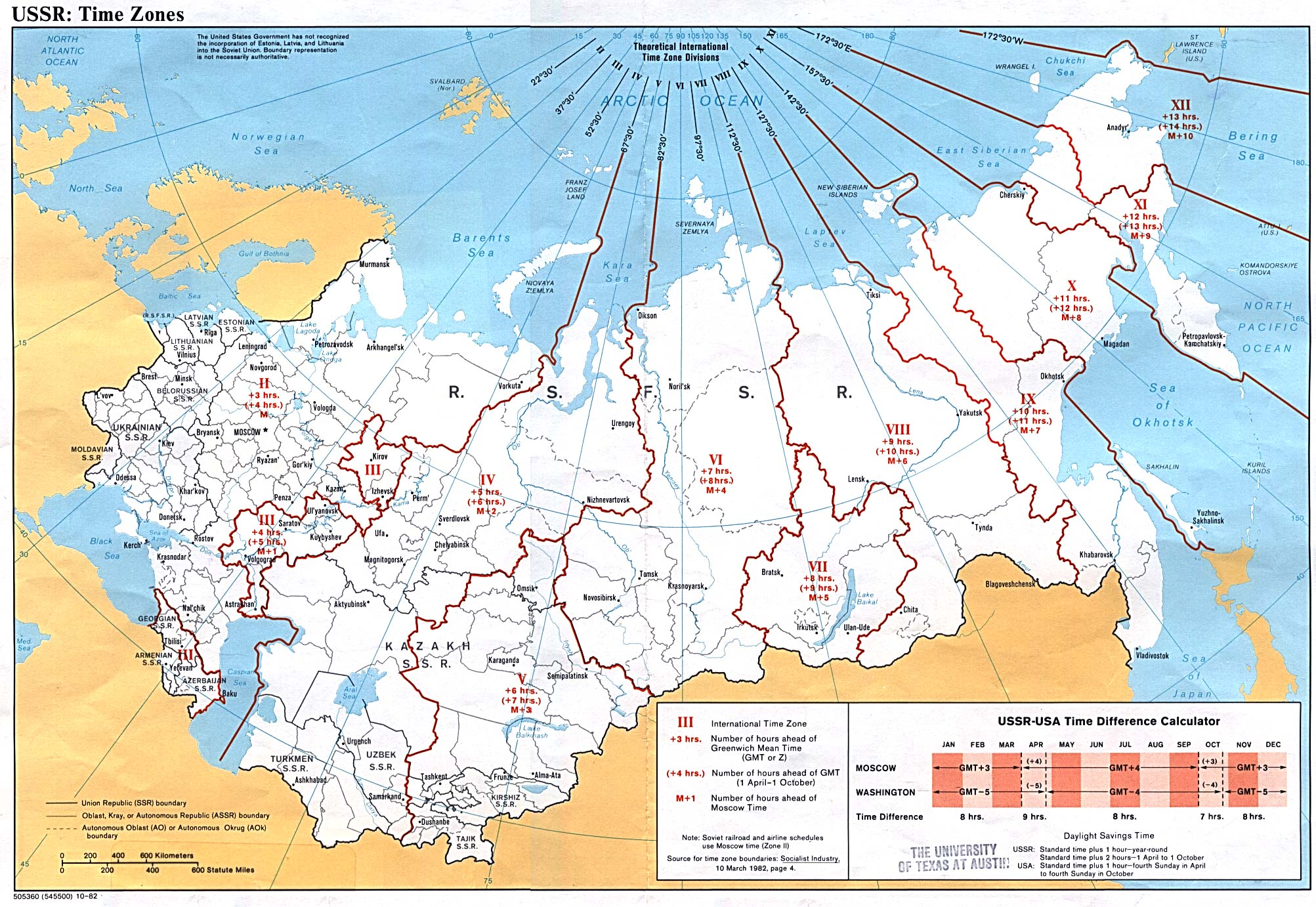 Mapa de los Husos Horarios en la ex Unión Soviética