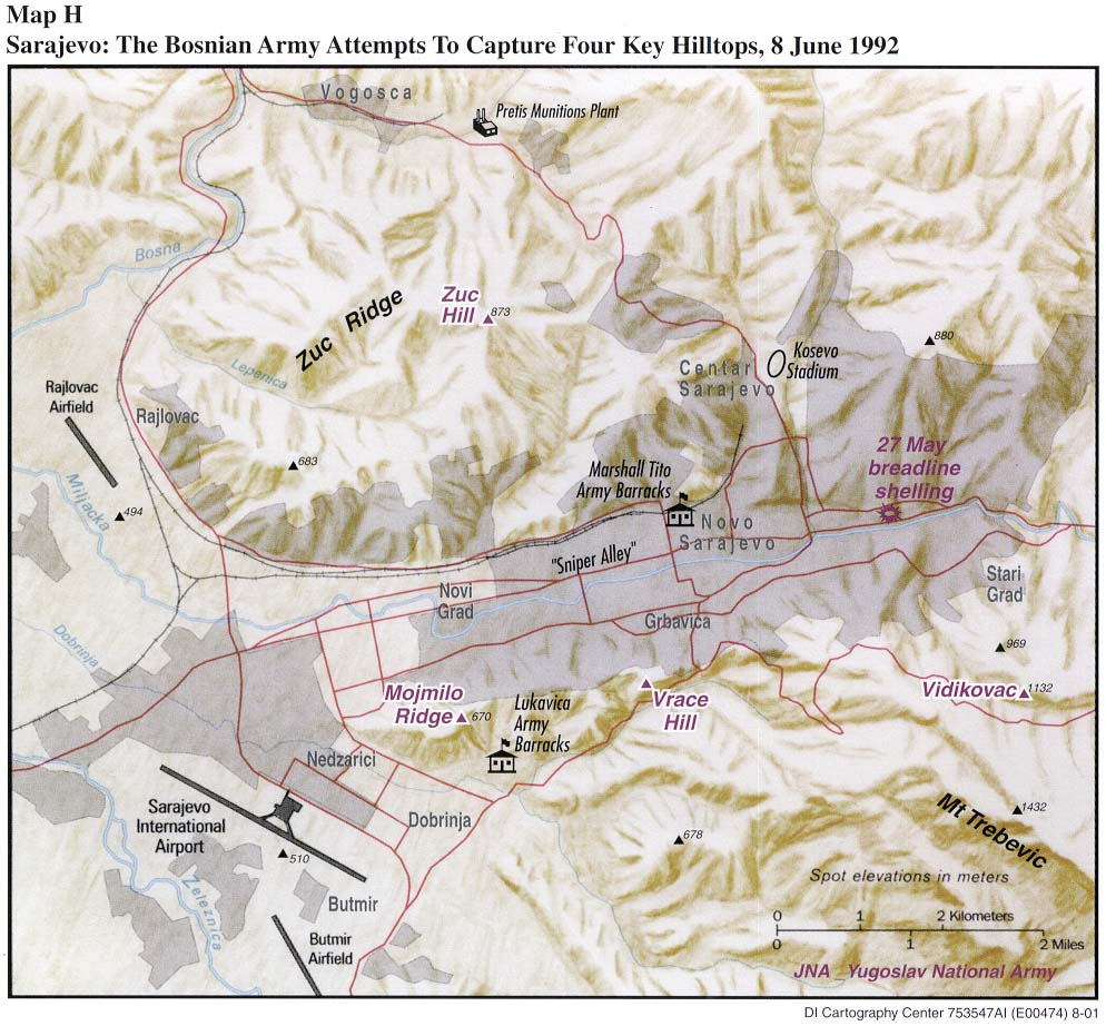 Map of the Bosnia and Herzegovinan Army Attempts to Capture Four Key Hilltops, Sarajevo, Bosnia and Herzegovina, 8 June 1992