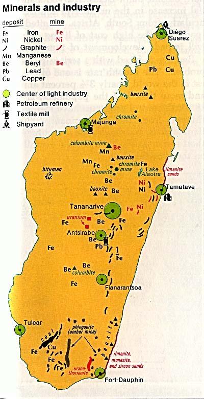 Mapa de los Minerales y Industria de Madagascar