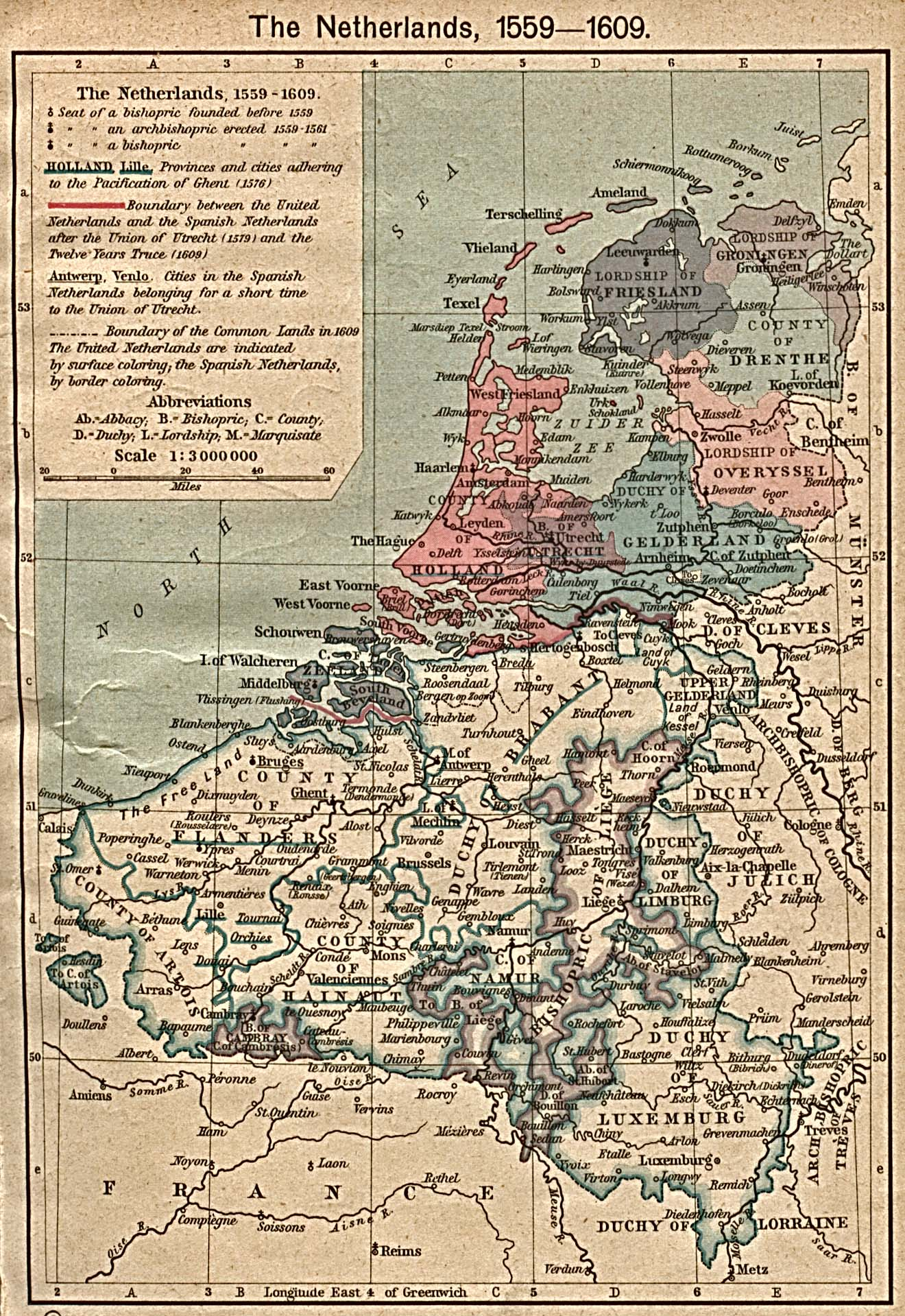 The Netherlands Map 1559 - 1609