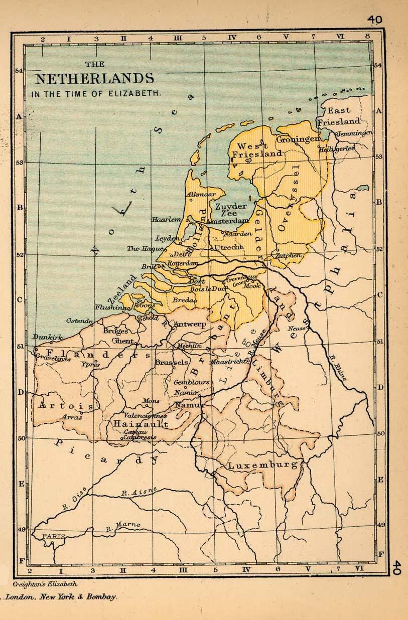 Mapa de los Países Bajos en el Tiempo de Elizabeth