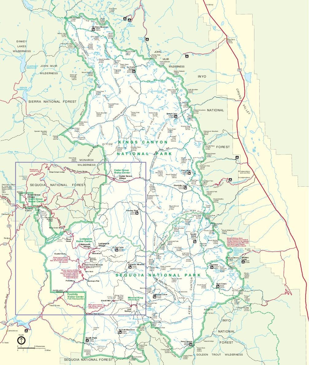 Mapa de los Parques Nacionales Sequoia y Cañoñ Kings, California, Estados Unidos