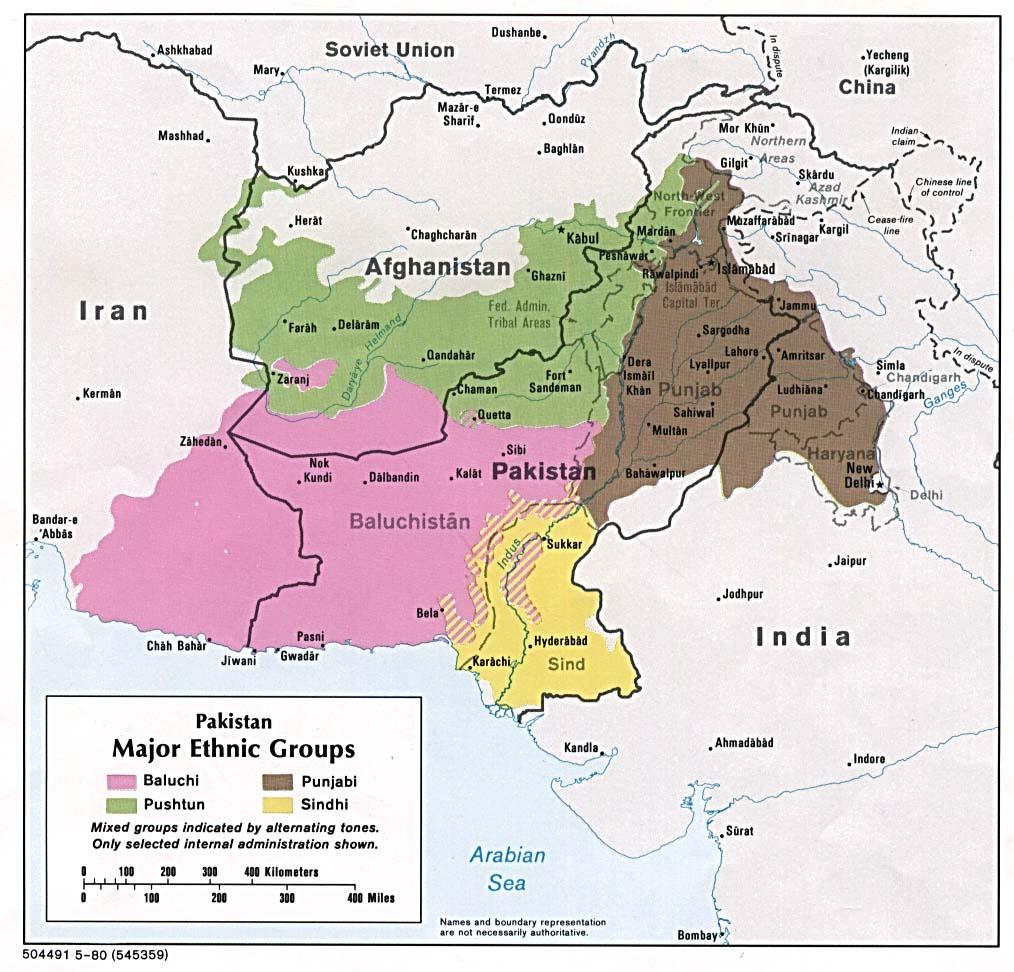 Mapa de los Principales Grupos Étnicos de Pakistán