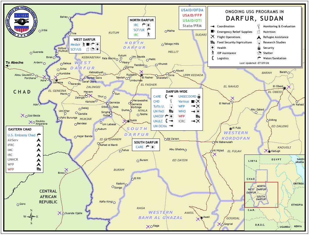 Map of USG Programs in Darfur, Sudan, July 4 2004