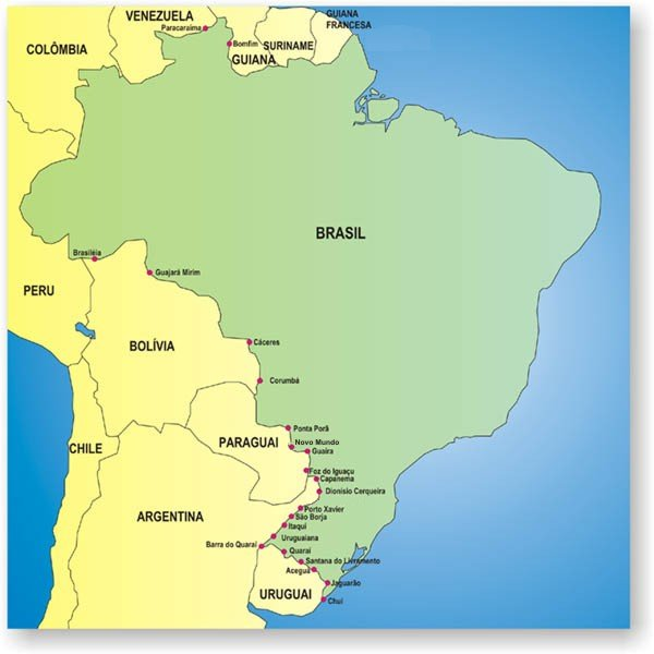 Mapa de los Puestos Fronterizos de Brasil