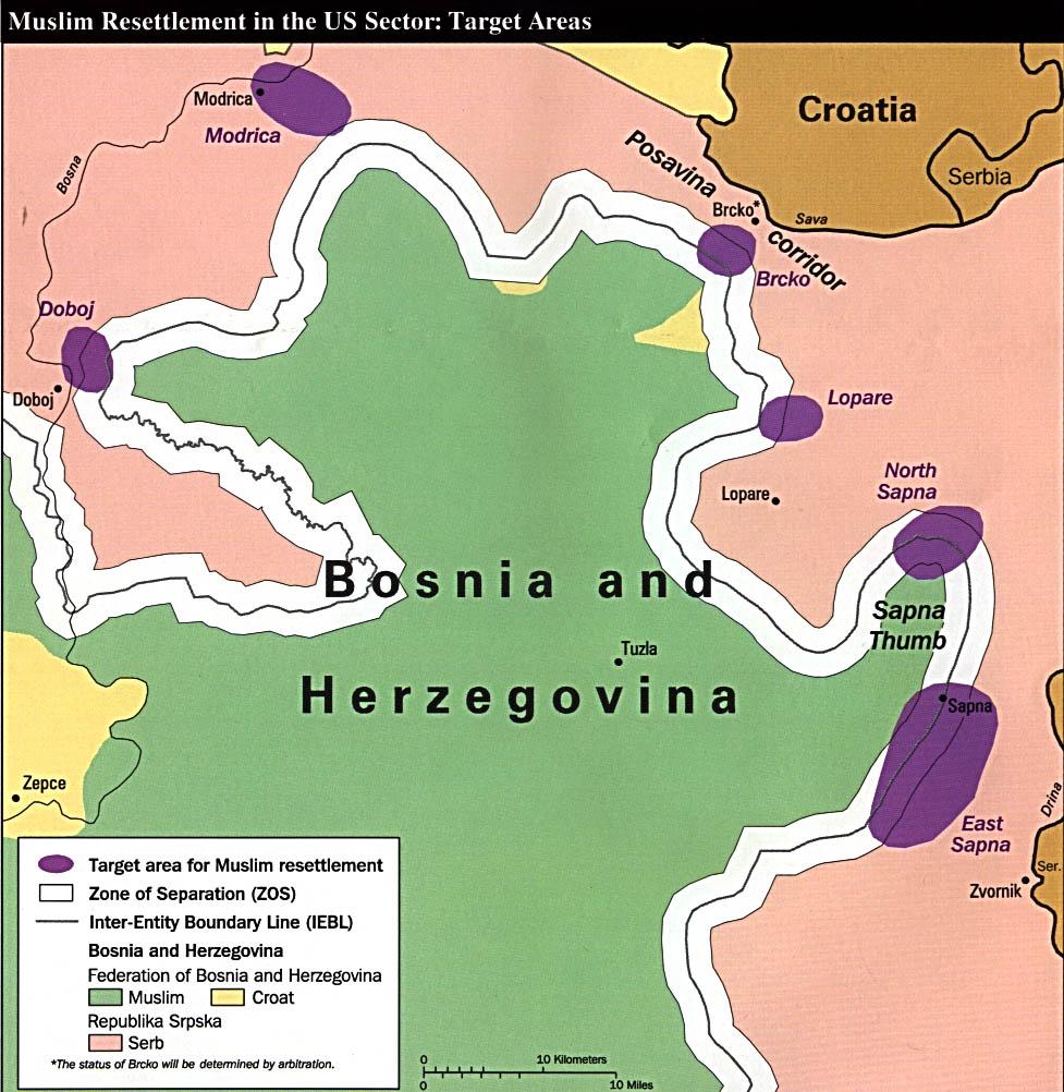 Mapa de los Reasentamientos de Población Musulmana en el Sector U.S., Bosnia y Herzegovina 1997