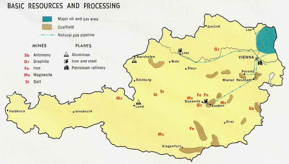Austria Basic Resources and Processing Map