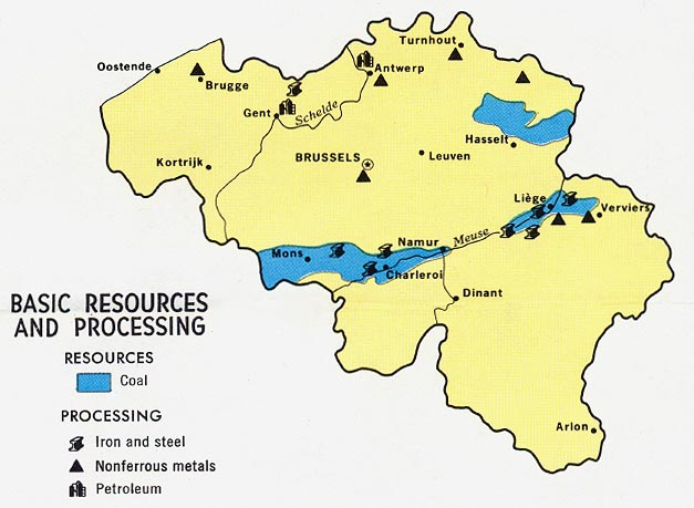 Mapa de los Recursos Naturales de Bélgica