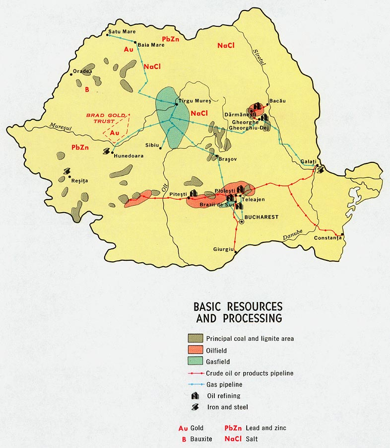 Romania Basic Resources and Processing Map
