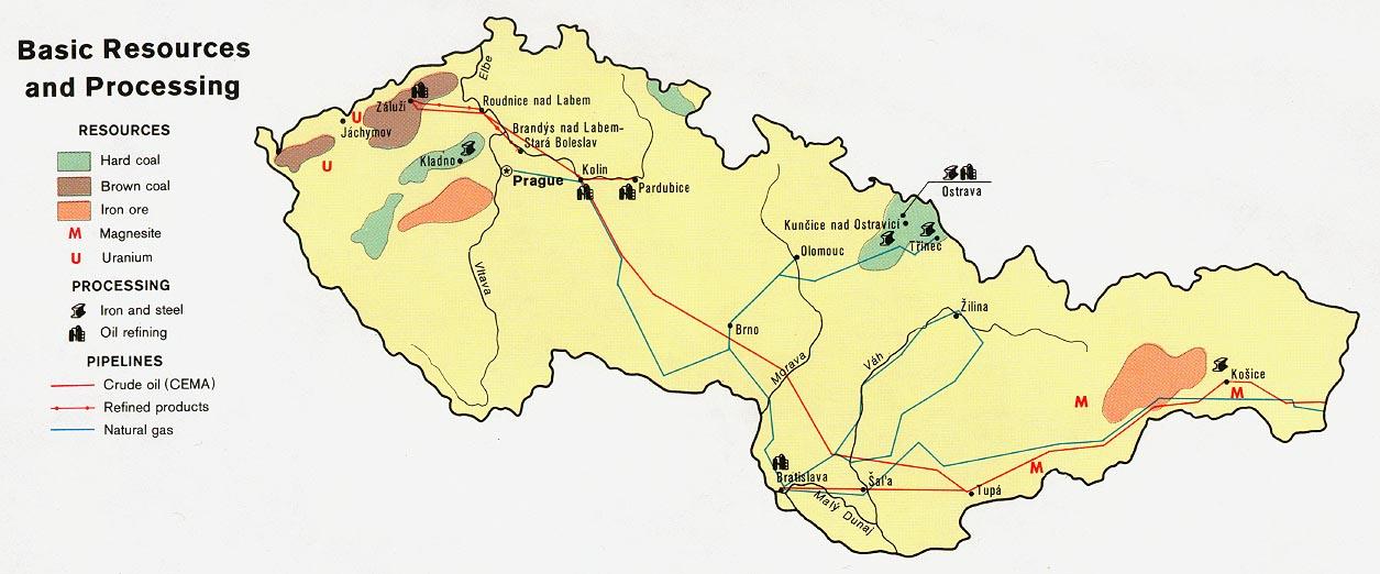 Mapa de los Recursos Naturales de las Repúblicas Checa y Eslovaca