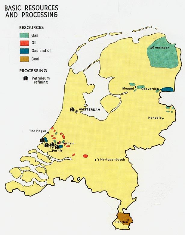 Mapa de los Recursos Naturales de los Países Bajos
