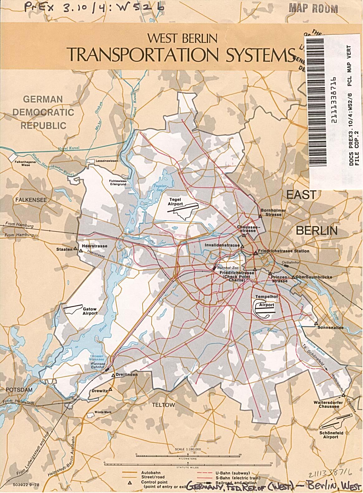 Mapa de los Sistemas de Transporte de Berlín (Oeste), Ex Alemania Occidental 1978