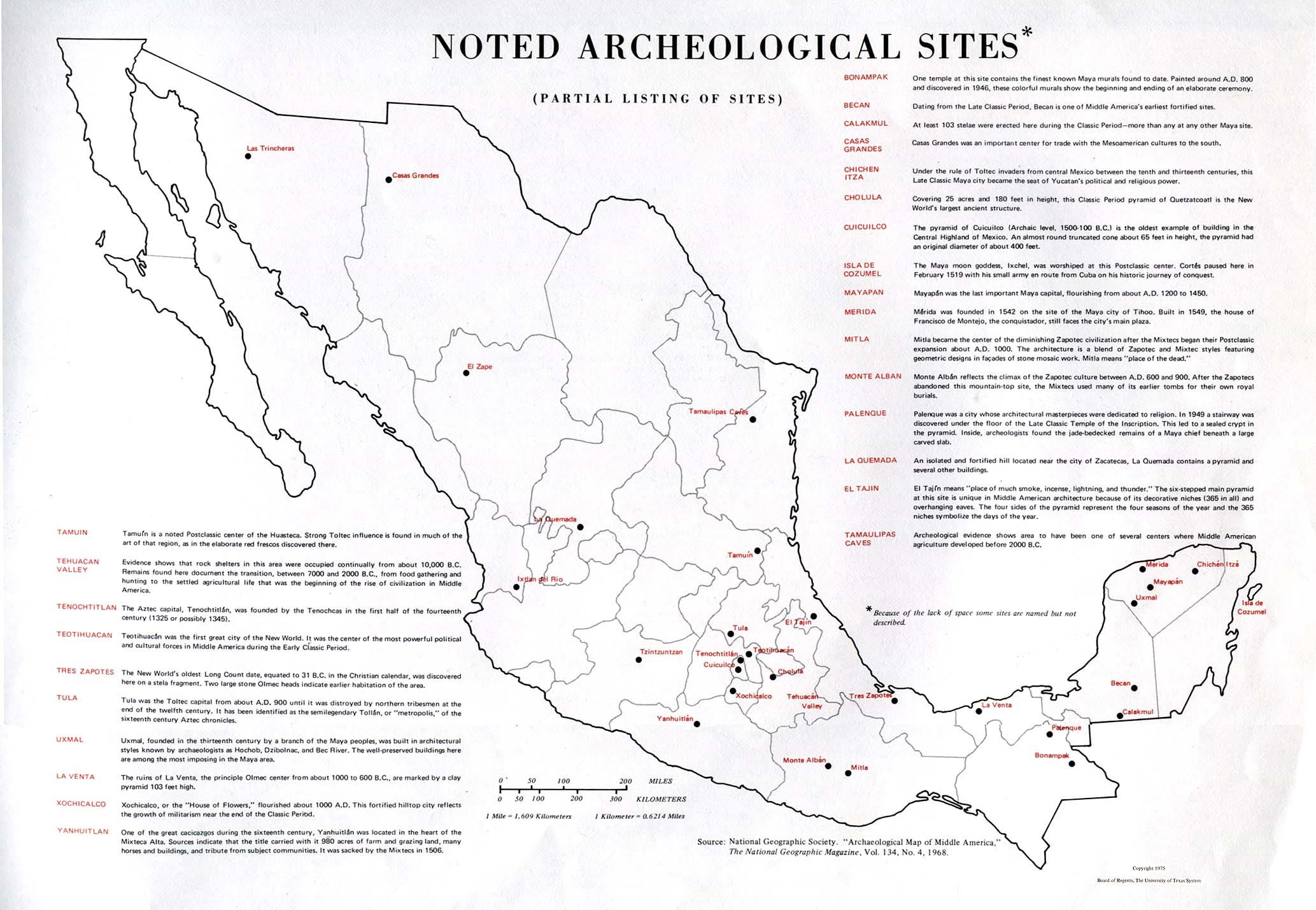 Mapa de los Sitios Arqueológicos Relevantes, México