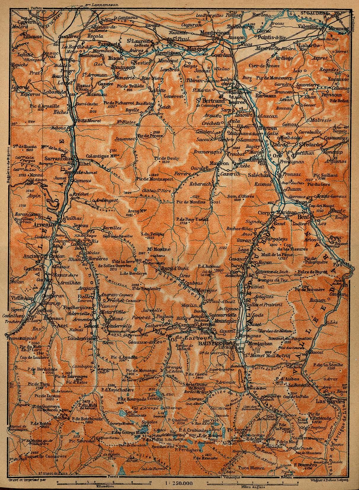 Mapa de los Valles d'Aure, de Luchon y d'Aran, Francia 1914
