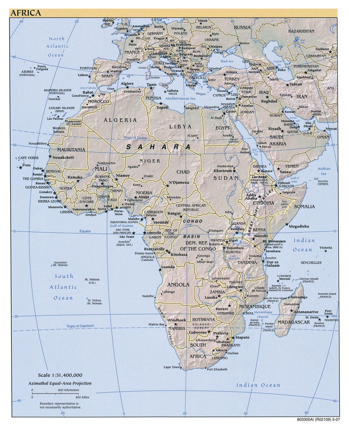 Mapa de relieve de África 2007