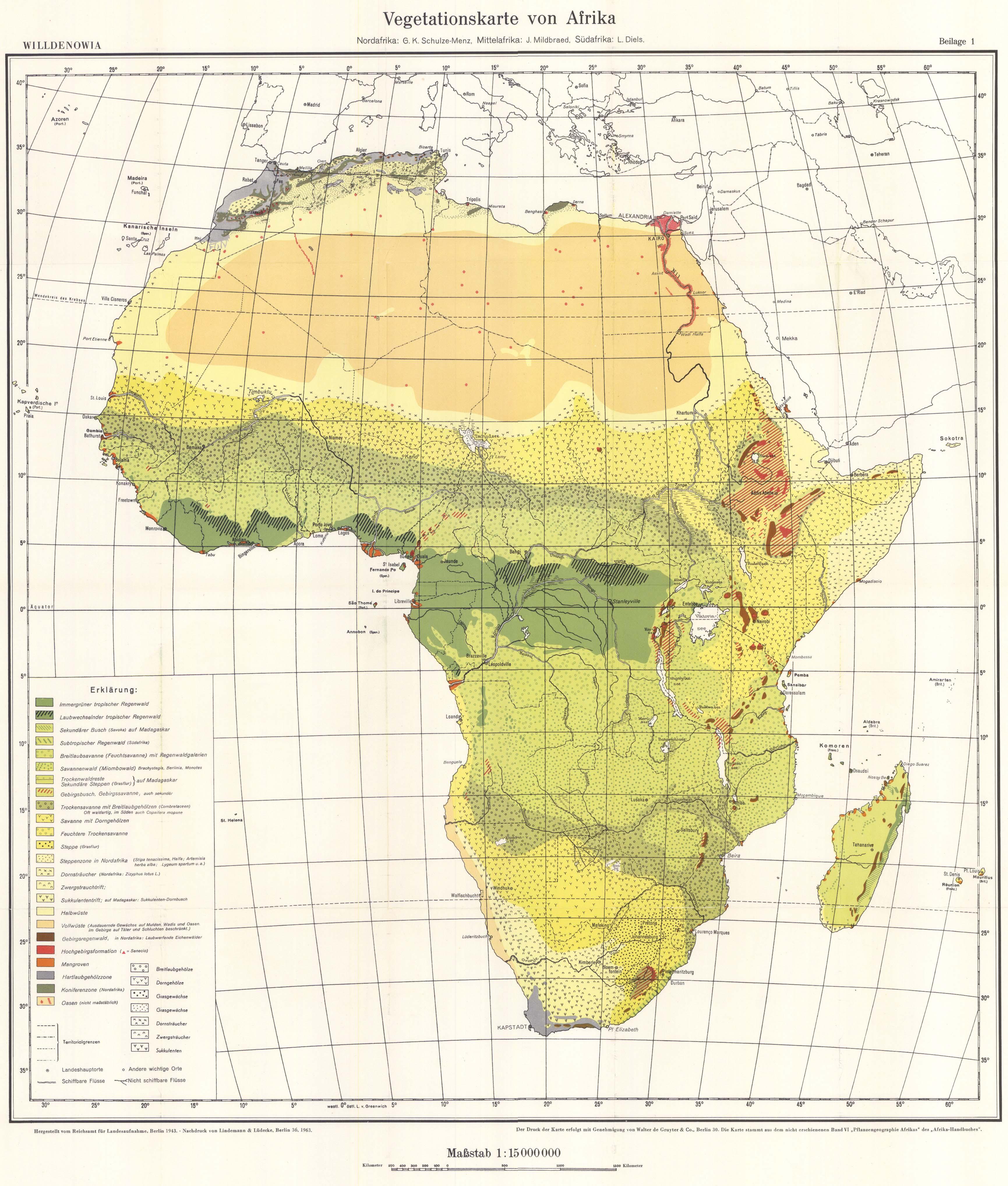 Mapa de vegetación de África 1963