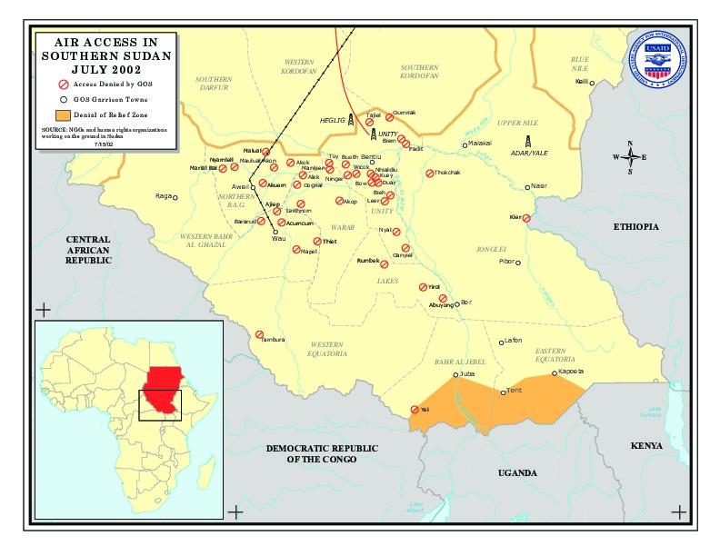 Mapa del Acceso Aéreo, Sudán Meridional