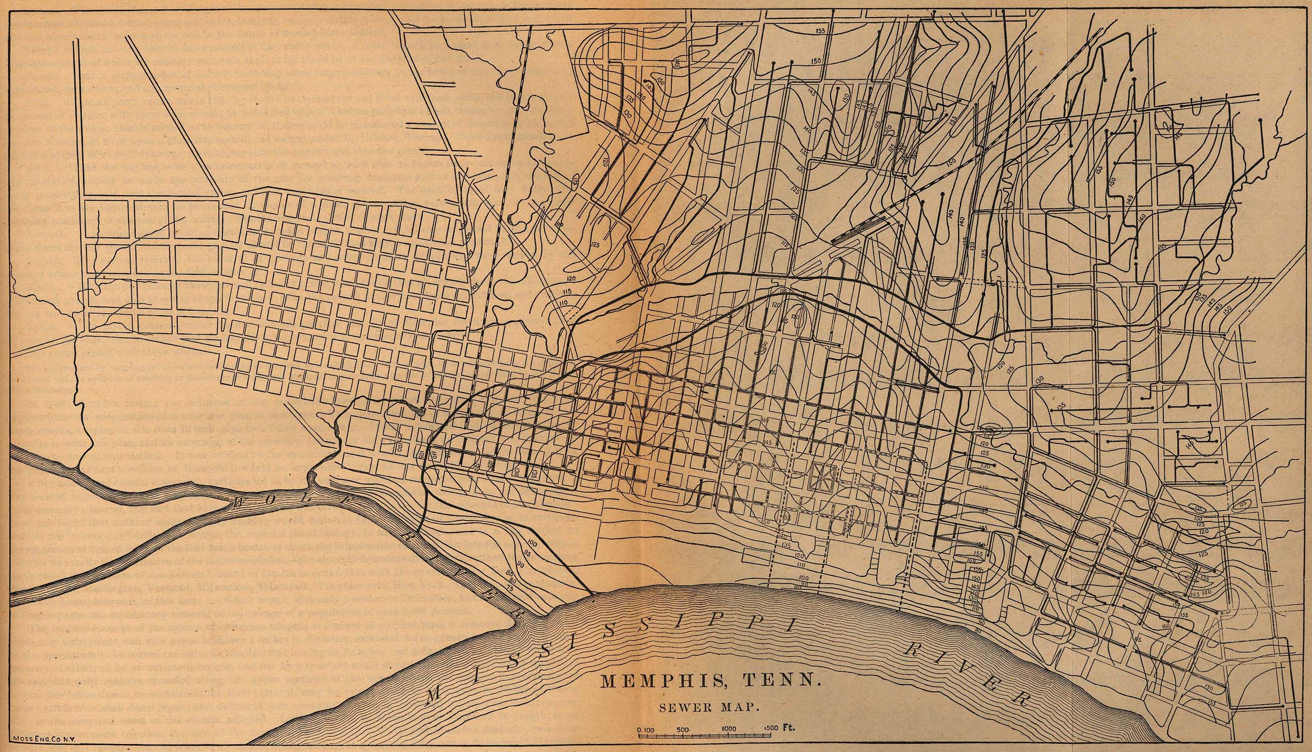 Mapa del Alcantarillado de Memphis, Tennessee, Estados Unidos 1880