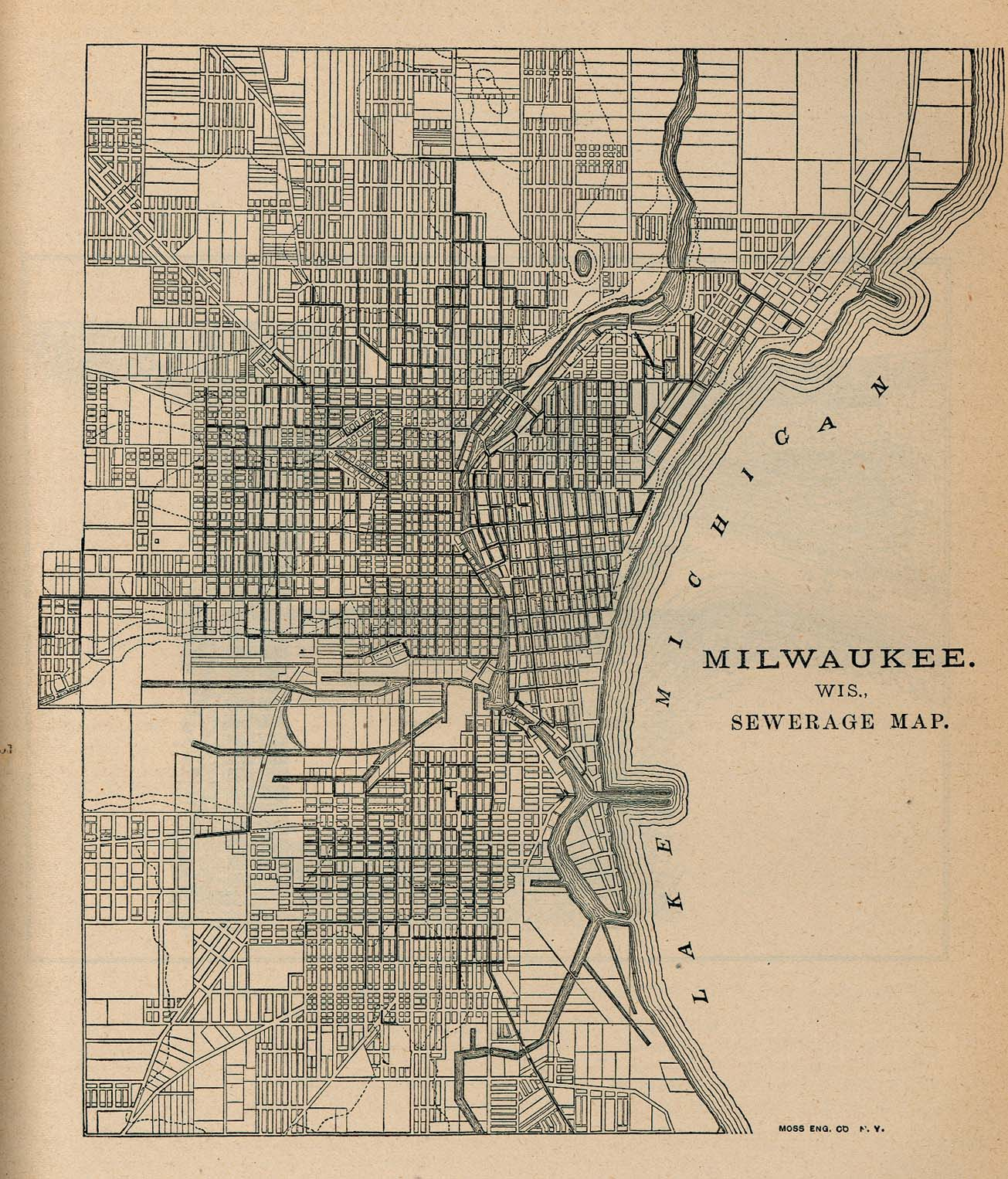 Milwaukee Sewage Map, Wisconsin, United States 1880