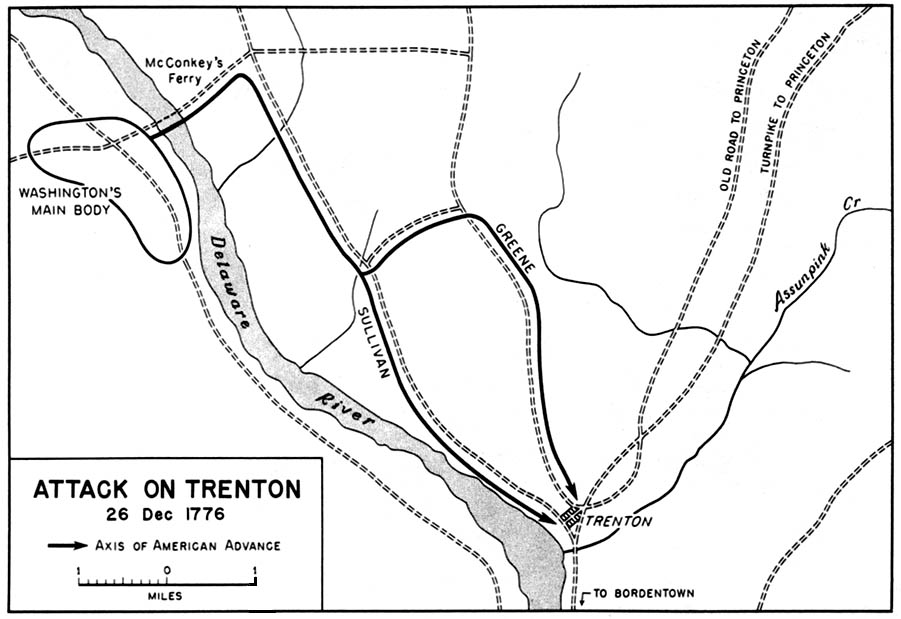 Mapa del Ataque sobre Trenton 26 Diciembre 1776, Guerra de la Independencia