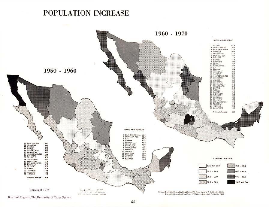 Mapa del Aumento de Población, México 1950 - 1960, 1960 - 1970